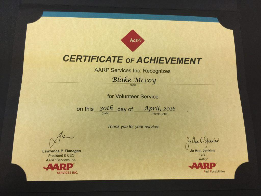 Blake's AARP Award 2016